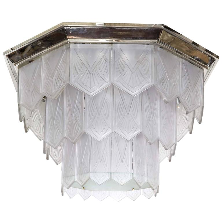 Palatial French Art Deco Frosted Art Glass Octagonal Chandelier, Signed Sabino 1