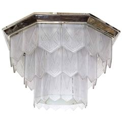 Palatial French Art Deco Frosted Art Glass Octagonal Chandelier, Signed Sabino