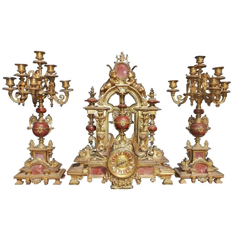 French Gilt  Bronze and Marble Clock Set