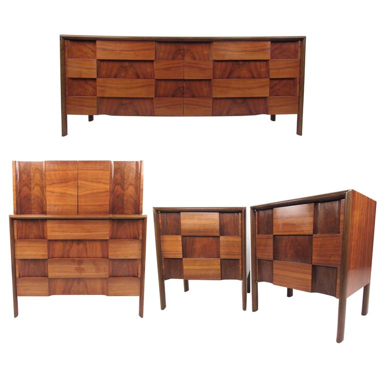 Mid century modern checkerboard bedroom set by edmond - Midcentury modern bedroom furniture ...