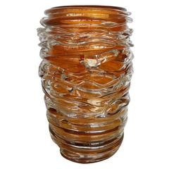 Italian Murano Amber Glass Vases by Pino Signoretto