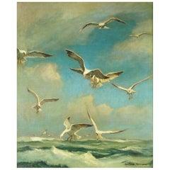 "Emile Albert Gruppe Oil on Canvas, Gloucester Seagulls 30""X25"""