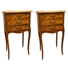 Pair Of Three Drawer Marble Top Bedside Or End Tables