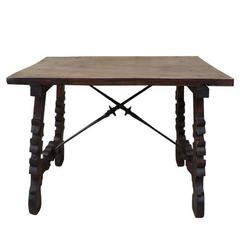 19th Century Spanish Carved Walnut Table
