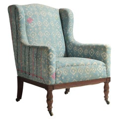 Walnut Wing Chair in Indian Quilts, circa 1880