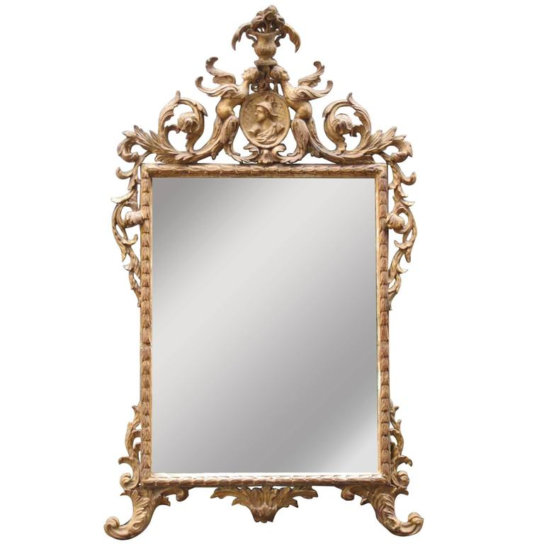 18th Century Italian Venetian Rococo Giltwood Mirror with Chinoiserie Details For Sale