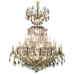 Monumental German Schonbek Painted Brass and Crystal Chandelier