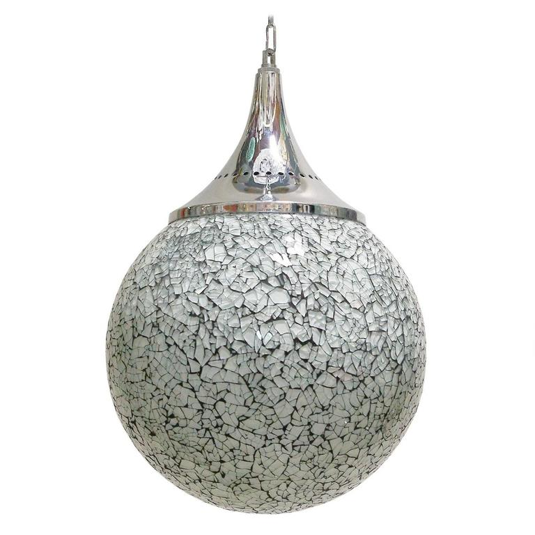 Crackled White Glass Globe Pendants For Sale