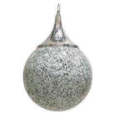Set of Four Crackled White Glass Globe Pendants