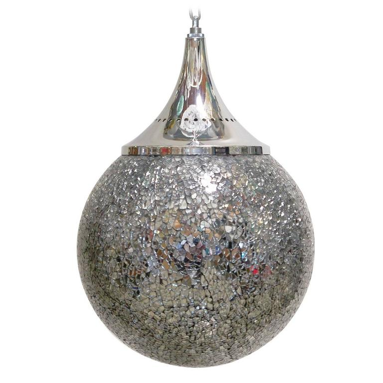 Crackled Mirrored Glass Globe Pendants