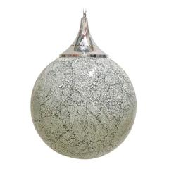 Large Crackled White Glass Globe Pendants