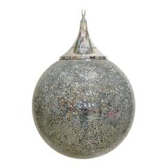 Large Crackled Mirrored Glass Globe Pendants