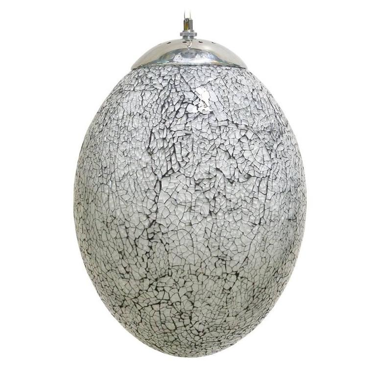 Crackled White Glass Egg Shaped Pendants