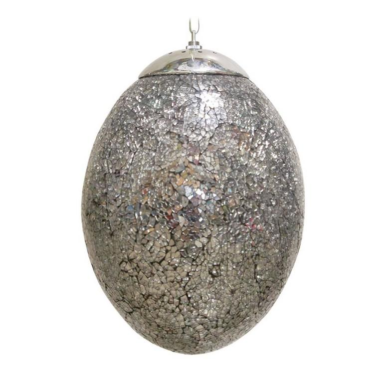 Crackled Mirrored Glass Egg Shaped Pendants