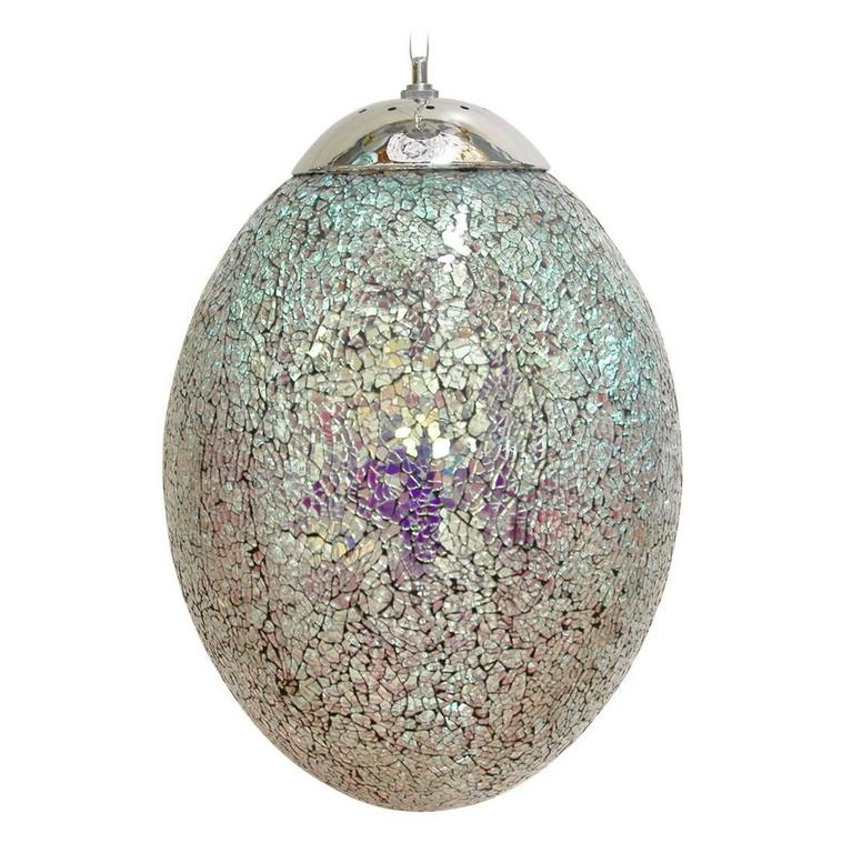 Crackled Iridescent Glass Egg Shaped Pendants