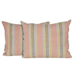 Pair of Vintage Pink Yellow Argentinian Fabric with Irish Linen Cushion Pillow