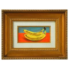 Two Bananas After Andy Warhol Oil on Board