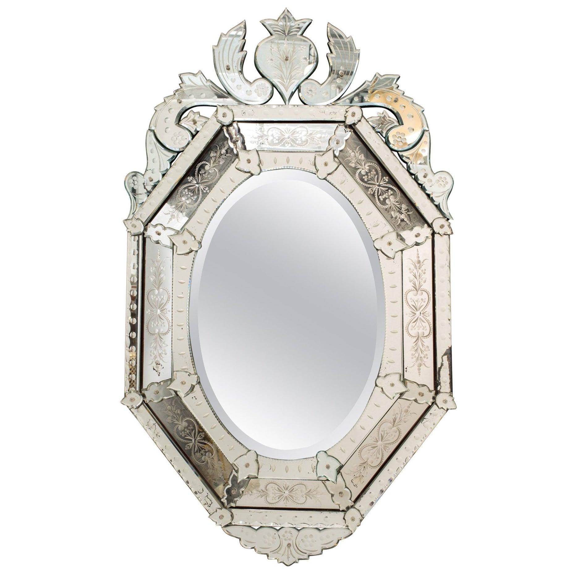 1930s Octagonal Venetian Mirror with Crown