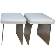 Two Lucite Benches-Stools