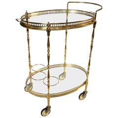 French Neoclassic Style Oval Brass Bar Cart