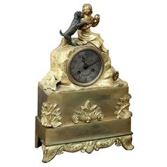 "Charles X Period French Gilded Bronze Mantel Clock ""Girl with Dog"""