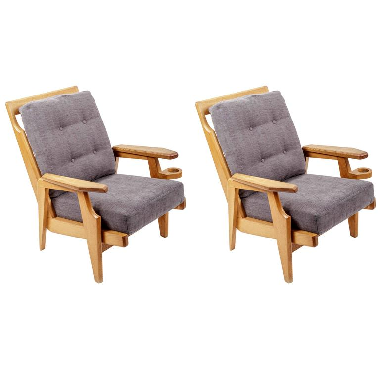 Pair of Wooden Armchairs by Guillerme et Chambron 1