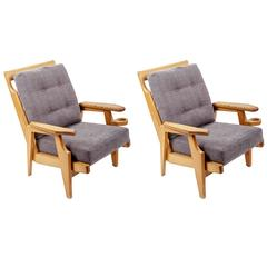Pair of Wooden Armchairs by Guillerme et Chambron