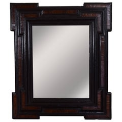Large Italian Baroque Period Walnut and Ebonized Wall Mirror, 17th Century