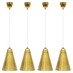 Rare Perforated Brass Pendants, 1950s