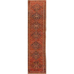 Antique Rust and Blue Medallion Malayer Runner Rug