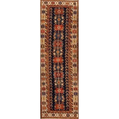 Antique Beige and Blue Malayer Runner Rug