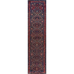 Antique Geometric Blue and Red Malayer Runner Rug