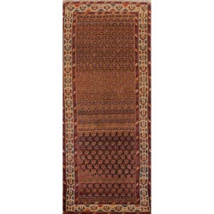 Antique Brown and Rust Persian Kurd Runner Rug