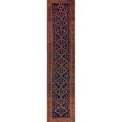 Antique Blue and Brown Malayer-Style Runner Rug