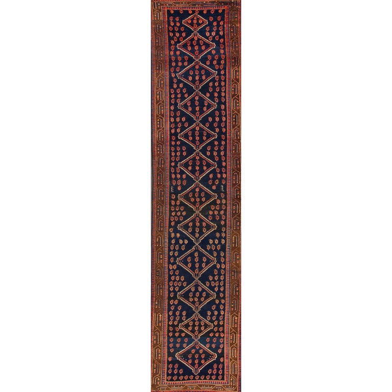 Antique Blue And Brown Malayer Style Runner Rug For