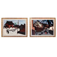 Pair of Original Wood Block Prints by Kiyoshi Saito