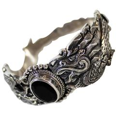 Nepalese Sterling Silver and Onyx Dragon Bracelet