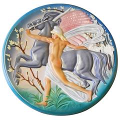 """Pegasus,"" Large, Rare Art Deco Sculptural Rondel with Male Nude by Brunetti"