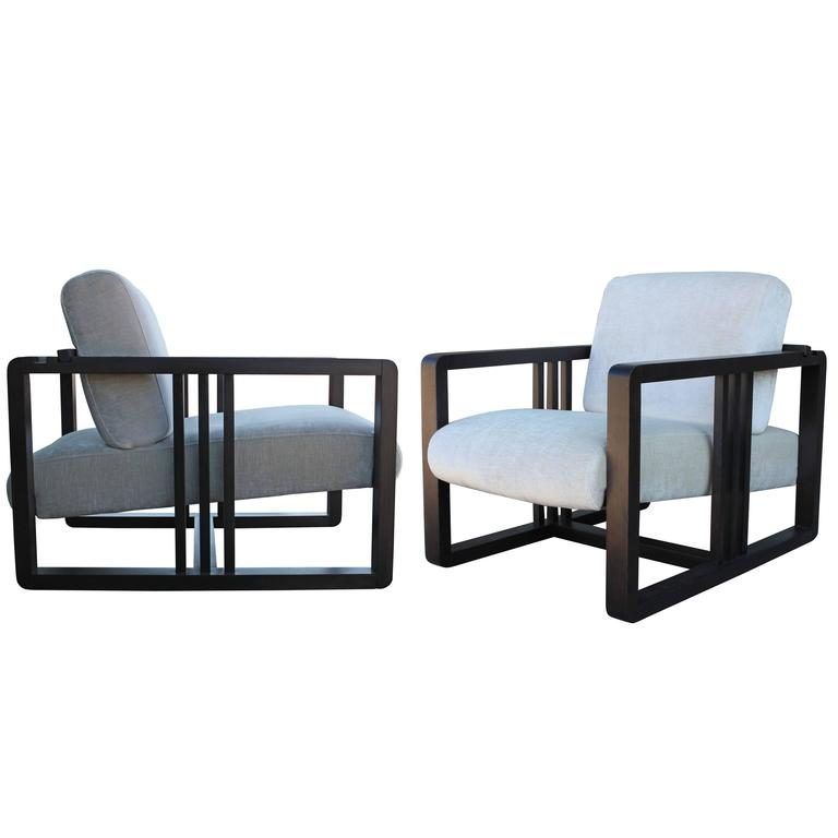 Roche Bobois Frank Lloyd Wright Style Pair Of Adjustable Modern Lounge  Chairs 1