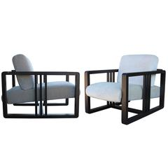 Roche Bobois Frank Lloyd Wright Style Pair of Adjustable Lounge Chairs
