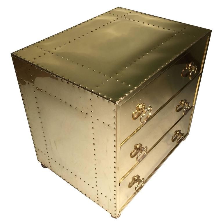 Hollywood Regency Brass Three-Drawer Chest or Dresser Attributed to Sarreid