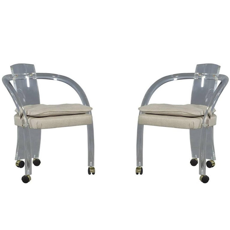 Set of Two Mid-Century Modern Waterfall Lucite Lounge Chairs For Sale