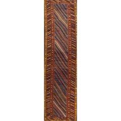 Antique Striped Blue Persian Kurdish Runner Rug