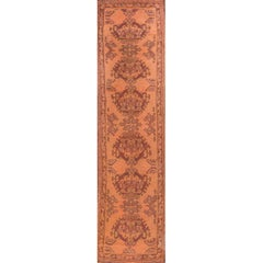Antique Peach and Brown Turkish Oushak Runner Rug