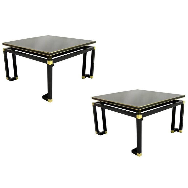 Studio A 1970s Italian Pair of Black Lacquered Wood and Brass Coffee/Sofa Tables