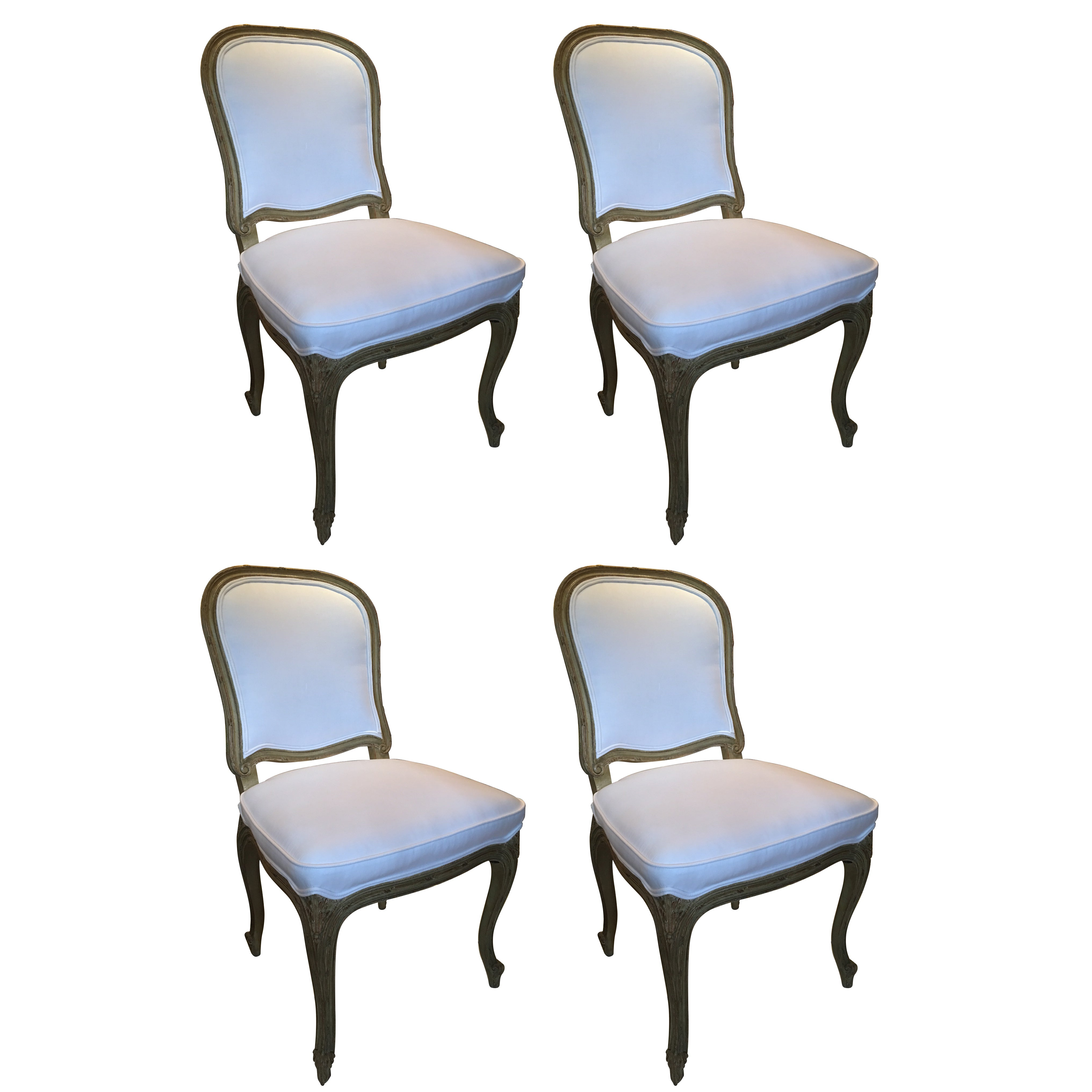 Set of Four Painted Louis XVI Style Dining Chairs, Mid-20th Century
