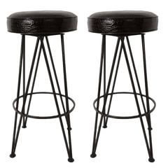 Iron Black Moc-Croc Bar Stools