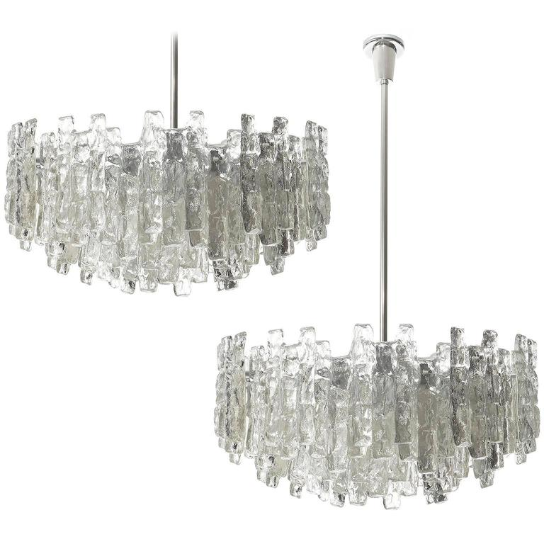 Four Large Kalmar Chandeliers, Ice Glass and Nickel, 1960s 1