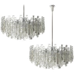 Three Large Kalmar Chandeliers, Ice Glass and Nickel, 1960s