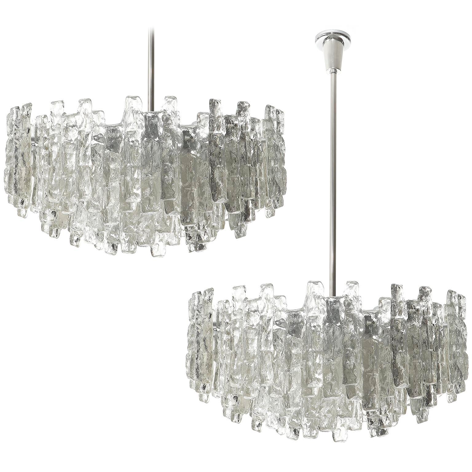 One of Two Large Kalmar Chandeliers, Ice Glass and Nickel, 1960s